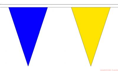 BLUE & YELLOW TRIANGULAR BUNTING - 20 METRES 54 FLAGS